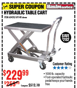 Capacity Hydraulic Table Cart
