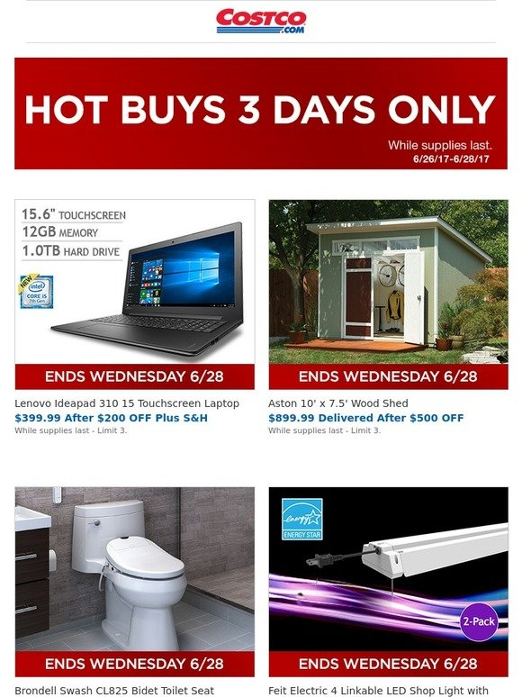 Costo 3 Days Only New Hot Buys Start Today Milled