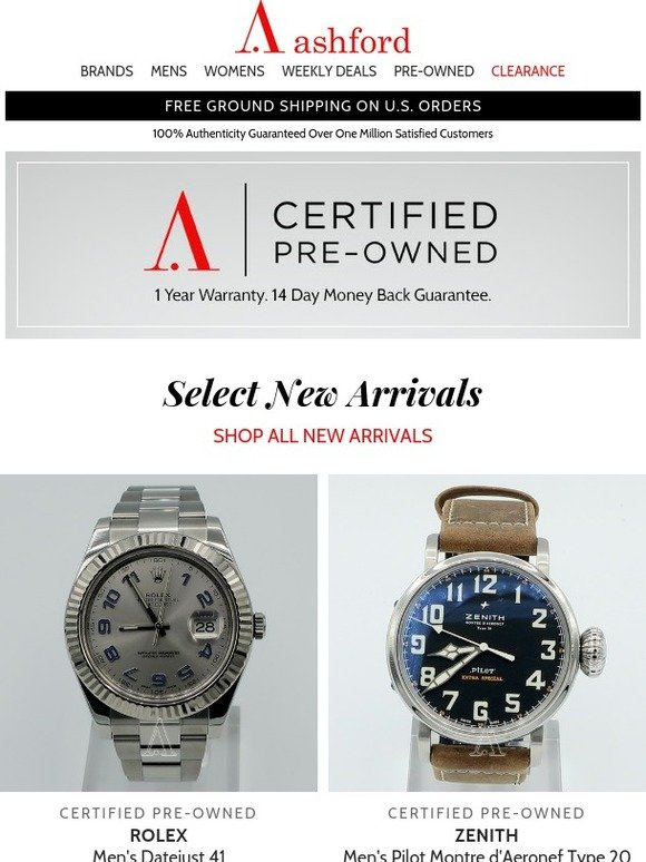 Ashford: Certified Pre-Owned Watches New Arrivals - Act Fast