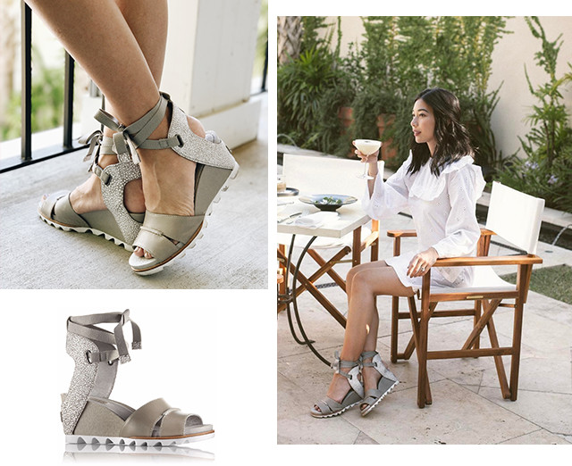 Images of a woman wearing Joanie Wrap sandals, including in a brunch setting.