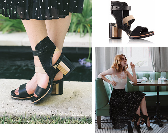 Images of a woman wearing Addington Cuff sandals, including in a brunch setting.