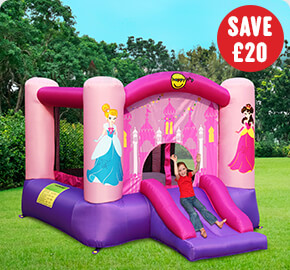 Princess Bouncy Castle with Slide and Basketball Hoop