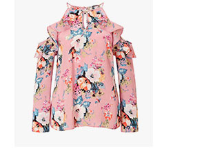 LIPSY FLORAL PRINT RUFFLE COLD SHOULDER TOP