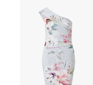 LIPSY ONE SHOULDER FLORAL PRINTED DRESS