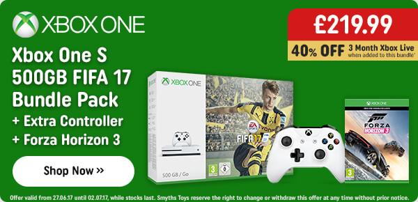 Xbox One S 500GB FIFA 17 Bundle with Extra Controller & Forza Horizon 3