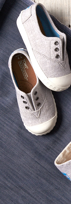 Drizzle Grey Slub Chambray Tiny TOMS Zuma Sneakers