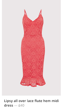 LIPSY ALL OVER LACE FLUTE HEM MIDI DRESS