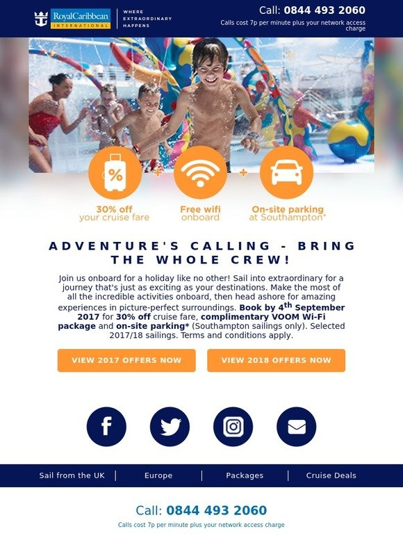 Royal Caribbean: New offer: 30% off + your Wi-Fi is on us