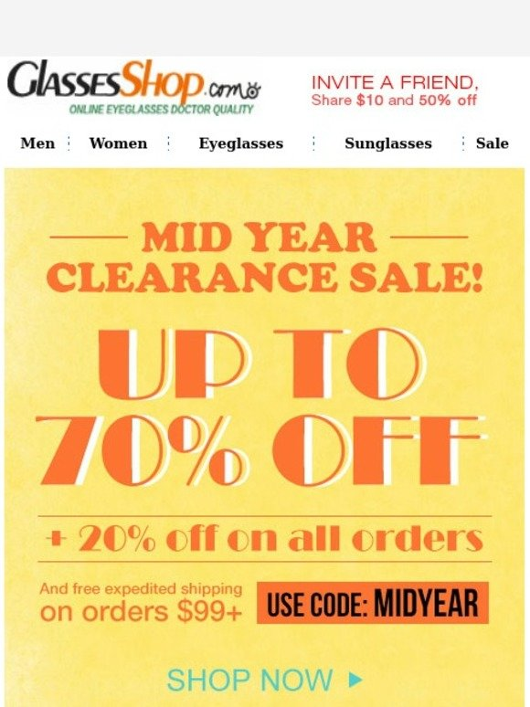 3fa287289ee2 GlassesShop.com  Mid year sale! Start from  5.95!
