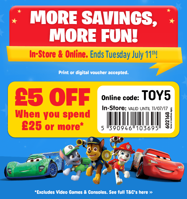FREE £5 Off Voucher when you spend £25 or more NOW!