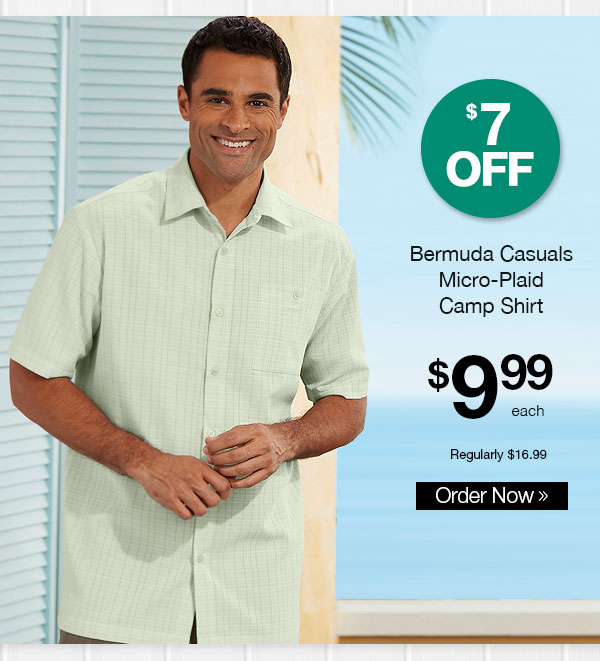 Bermuda Casuals Micro-Plaid Camp Shirt