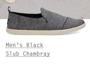 Black Slub Chambray Men's Deconstructed Alpargatas