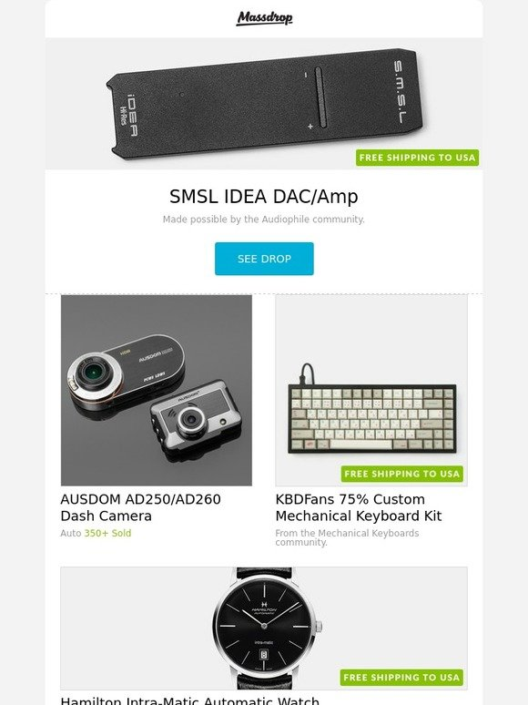 Massdrop: SMSL IDEA DAC/Amp, AUSDOM AD250/AD260 Dash Camera