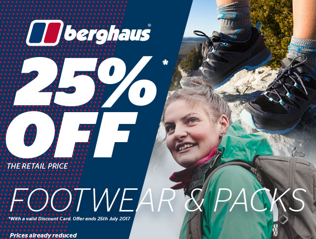 An extra 25% off the retail price of Berghaus Footwear and Backpacks