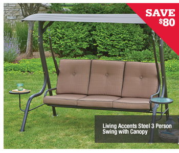 ... SAVE $80 Living Accents Steel 3 Person Swing With Canopy