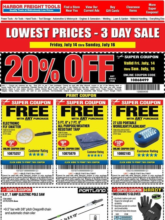harbor freight special sale 75 off and more milled. Black Bedroom Furniture Sets. Home Design Ideas