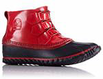 A short red duck boot.