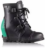 A black ankle rain boot.