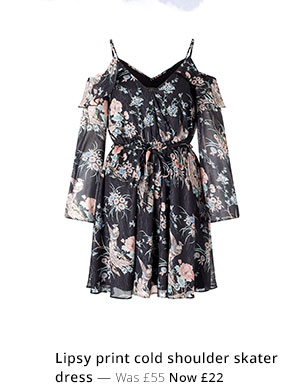 LIPSY PRINT COLD SHOULDER SKATER DRESS