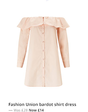 FASHION UNION BARDOT SHIRT DRESS