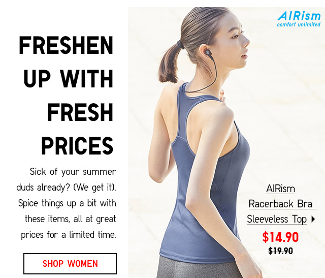 SHOP WOMEN'S AIRISM -- AIRism Racerback Bra Sleeveless Top -- $14.90