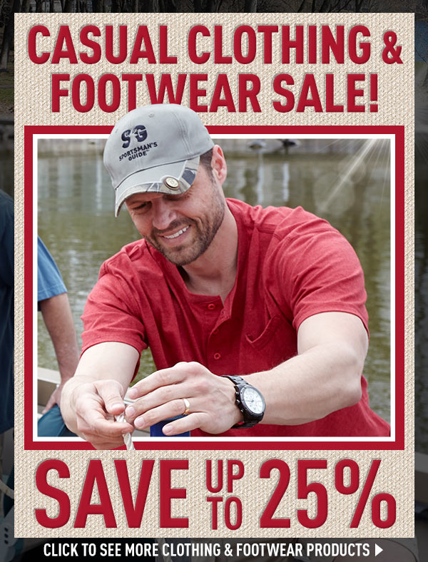 Casual Clothing & Footwear Sale with up to 25% Savings.