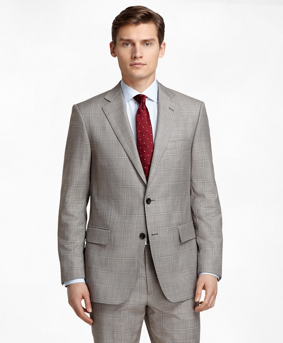 Regent Fit Tan Sharkskin with Windowpane 1818 Suit