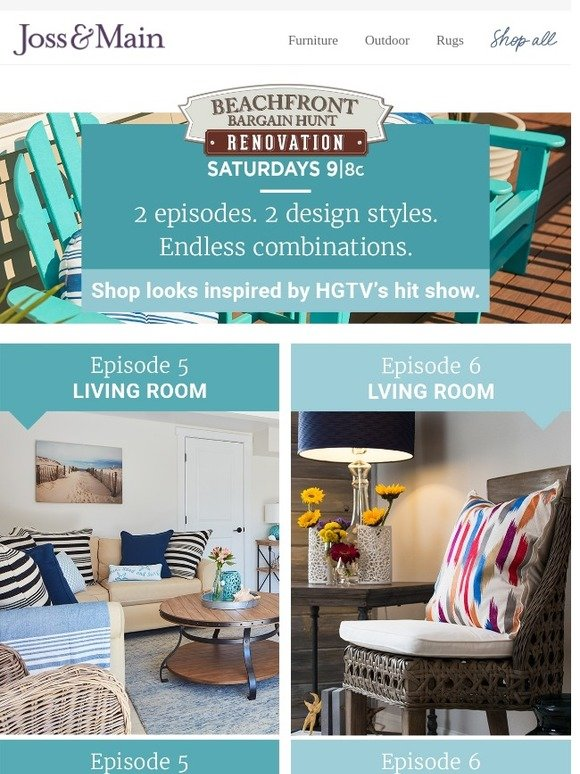 Joss main coastal style a hit hgtv show shop asap for Joss and main contact