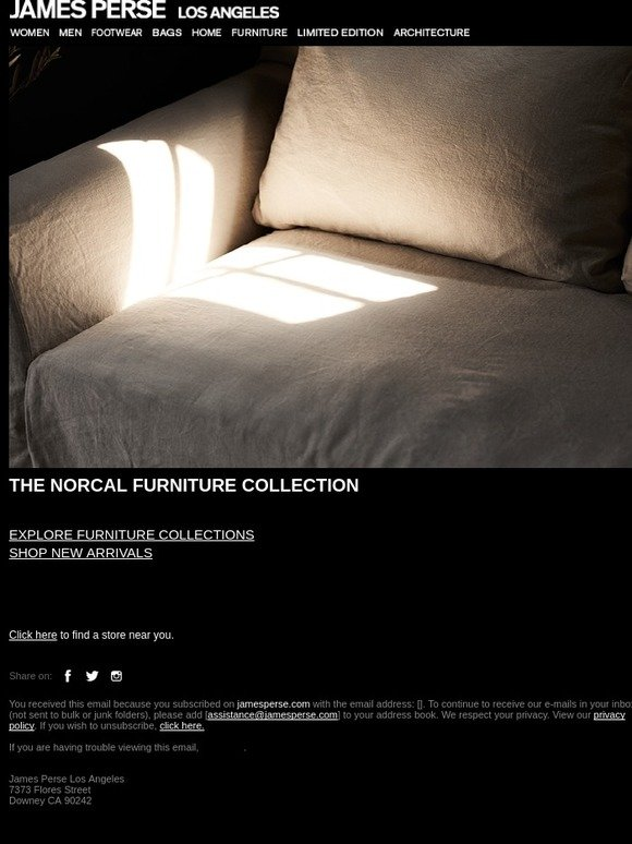 James Perse: The NorCal Furniture Collection | Milled