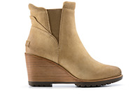 An ankle-hi wedge boot with heel.
