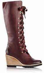 A lace-up knee-hi wedge boot.