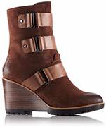 A mid-hi wedge boot with metallic detail.