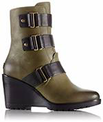 A mid-hi wedge boot with strap detail.