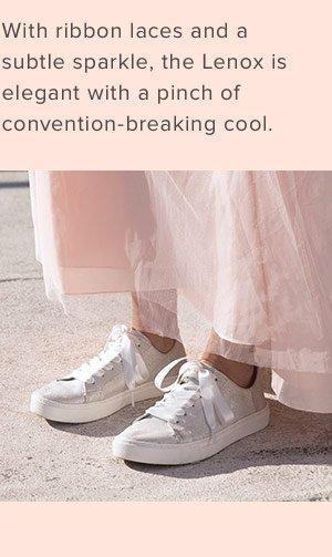 Ivory Glitter Mesh Women's Lenox Sneakers