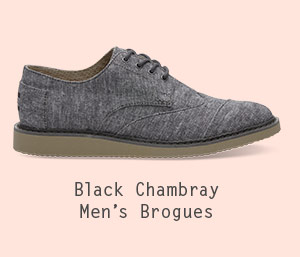 Black Slub Chambray Men's Brogues