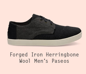 Black Grey Herringbone Wool Men's Paseo Sneakers