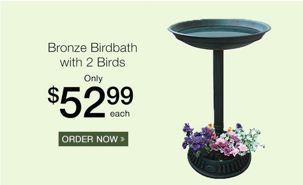 Bronze Birdbath with 2 Birds