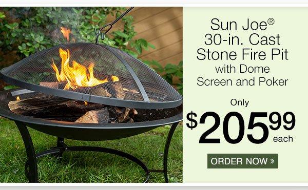 Sun Joe 30-in. Fire Pit w/Dome Screen and Poker