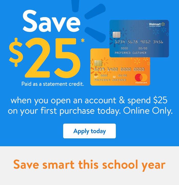 Walmart Credit Card Walmart Com >> Walmart Online Only Open A Walmart Credit Card Save 25