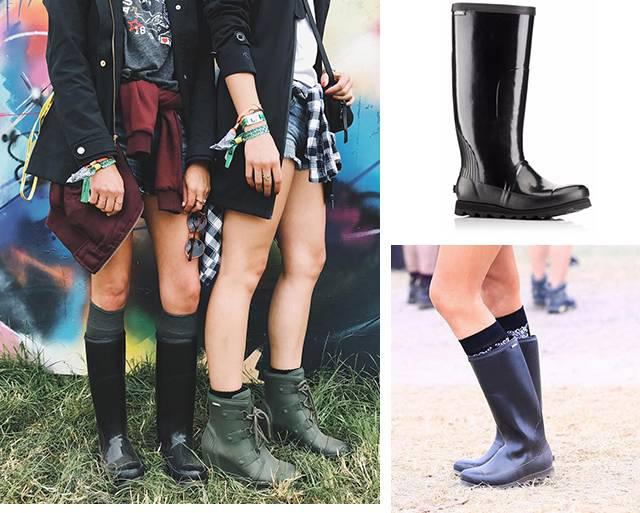 Festival-goers wearing rain boots.