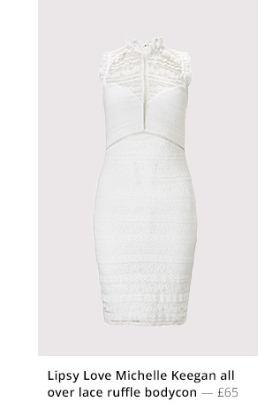 LIPSY LOVE MICHELLE KEEGAN ALL OVER LACE RUFFLE BODYCON DRESS