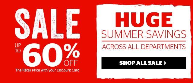 Sale - huge summer savings across all departments