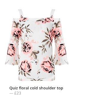 QUIZ FLORAL COLD SHOULDER TOP