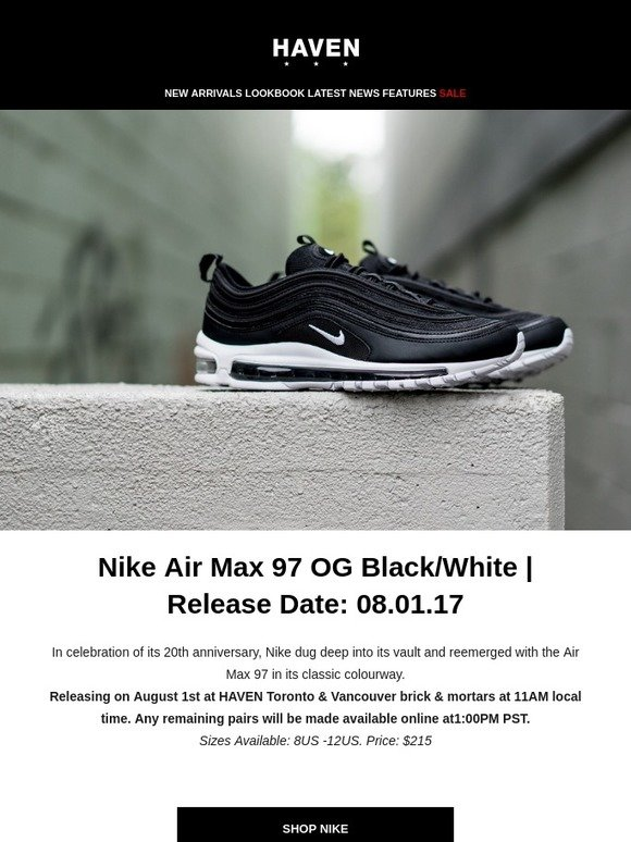 Haven  Nike AM 97 OG   Ultraboost Laceless - Releasing Tomorrow Instores    Online  5a4e499cc