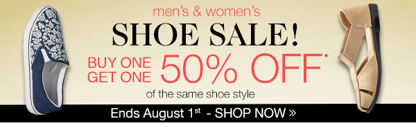 Shoe Sale! BOGO of the same style 50% OFF!