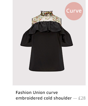 FASHION UNION CURVE EMBROIDERED COLD SHOULDER TOP