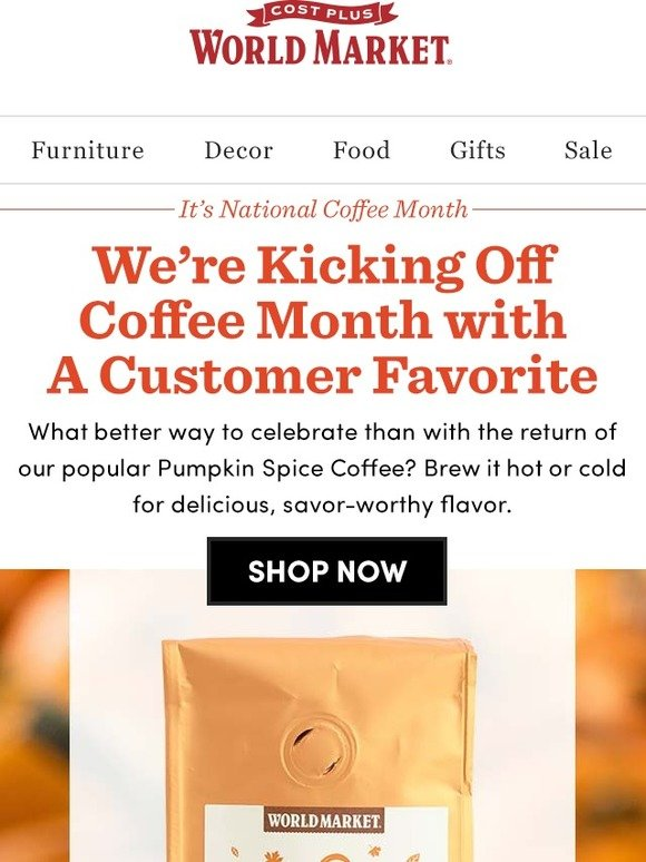 Cost Plus World Market Our Pumpkin Spice Coffee Is Back
