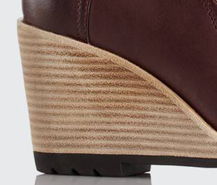 Wedge leather heel detail.