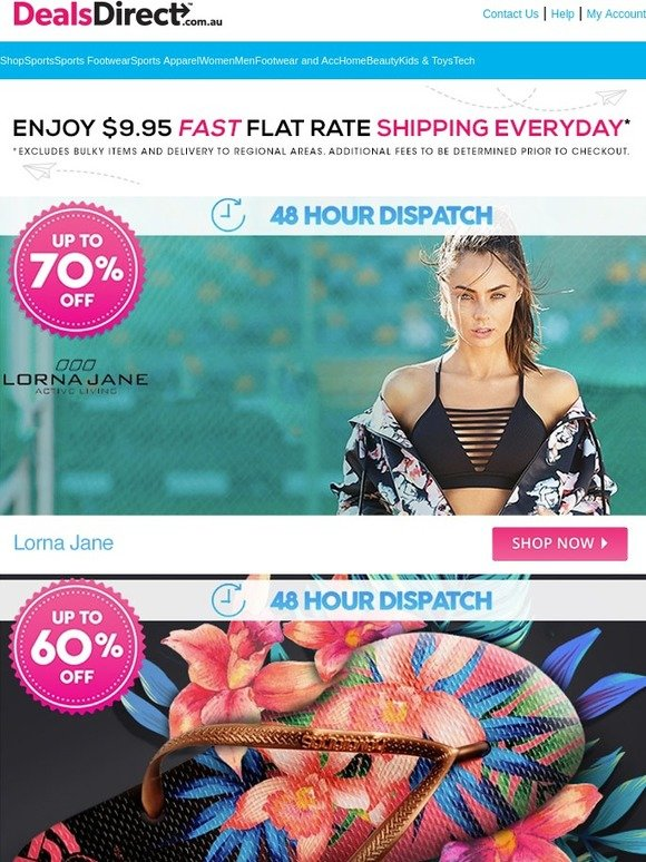 DealsDirect: Lorna Jane 48 Hour Dispatch Up to 70% Off