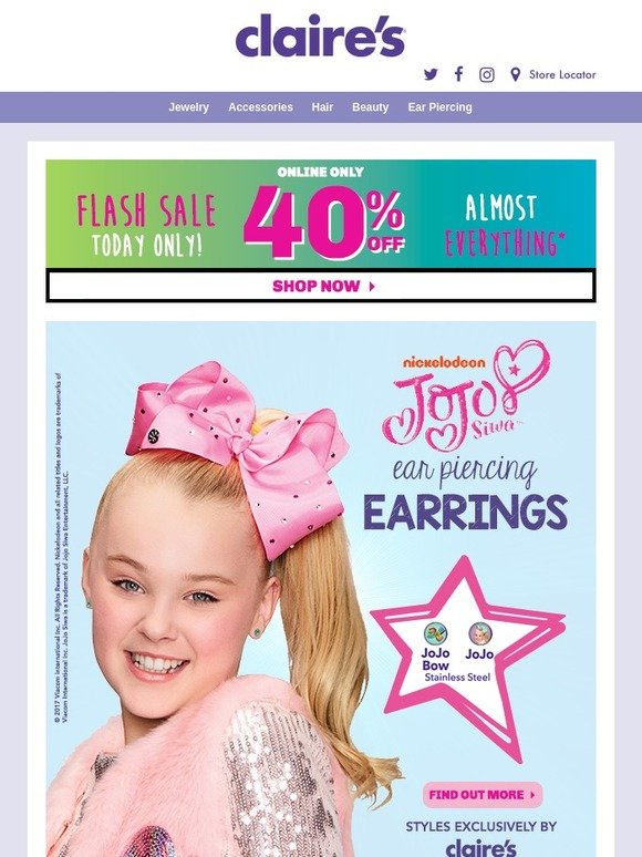 Claire's: NEW JoJo Ear Piercing! 🎀 Shop the Mermaid Bows